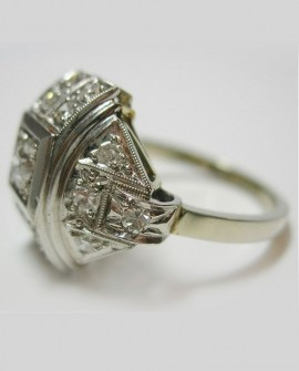 Bague Art deco Or blanc 18K avec diamants Paris