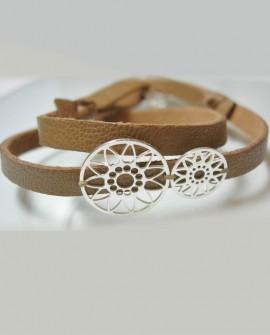 Bracelet cuir dentelles argent