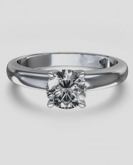 Bague solitaire 0.75 Carats Diamant Or blanc 750/000