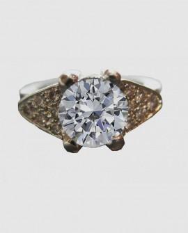 Bague solitaire diamant or blanc DIAMANDA  Saralinka