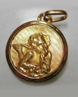 Pendentif médaille Ange en or 750/1000è 18 CARATS (enfant ou bébé ) baptême
