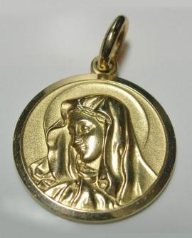 Médaille vierge Marie en or jaune 18k communion ou baptême