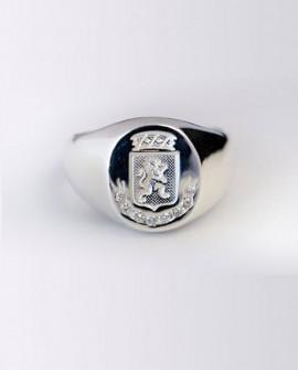 Chevalière Lion power en Argent 925 avec 0.16 carats diamants véritables