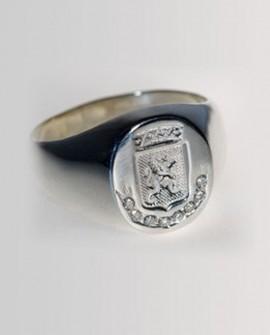 Chevalière Homme Lion en Or blanc 18k avec 0.16 carats diamants