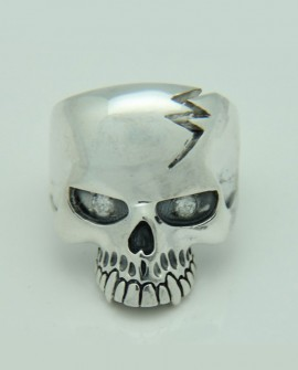 BAGUE MAC 11 SKULL  TÊTE DE MORT DIAMANTS OR BLANC
