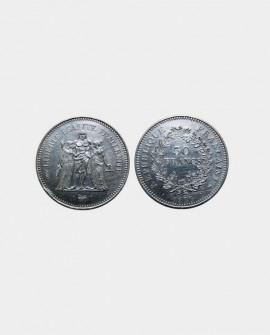 Pièce 50 francs Hercules en argent Massif (1974-1980)