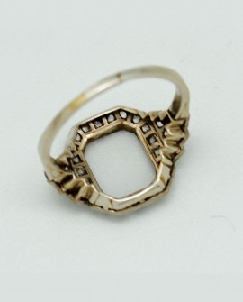 Monture bague art deco en or blanc 750/000