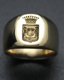 Chevalière Homme couronnes [BAGUE- RING - ANNEAU] en Or jaune 750/°°°