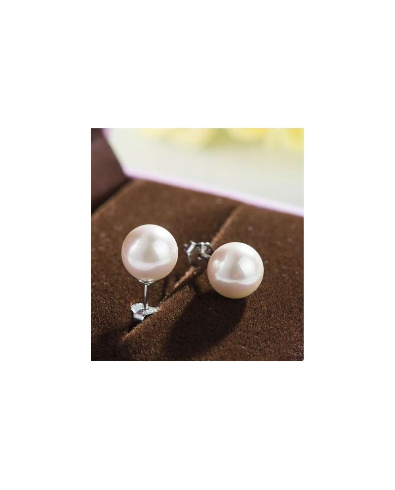 achat vente boucles d'oreilles perle de culture blanche ronde pas cher