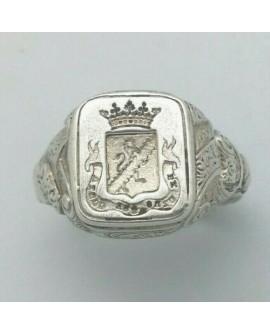 Bague Chevalière Homme Royale héraldique ciselée en argent 925