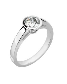 bague solitaire fiançaille or blanc avec 0,40 carats diamant