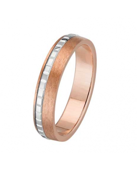 Bague alliance homme en or rose et or gris 750/°°° 18K choco