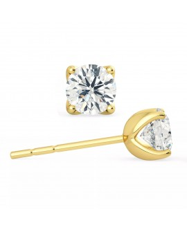 Boucles d'oreilles puces en or jaune  diamants de 0,50 carats