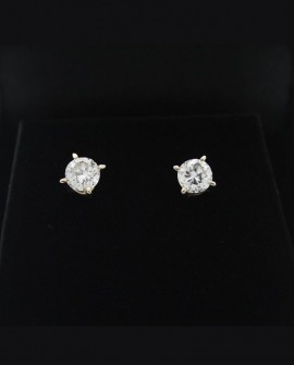 Boucles d'oreilles puces en or blanc diamants de 0,80 carats
