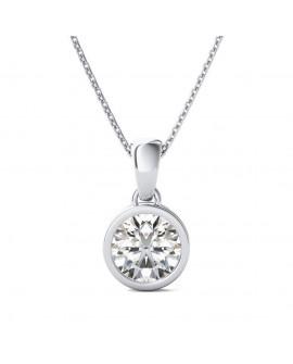 collier pendentif soleil solitaire en or blanc 9k 375/°°° diamant de 0,30 cts
