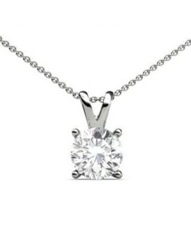 collier pendentif en or blanc avec diamant solitaire de 0,10 carat
