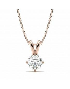 achat collier solitaire or rose diamant paris