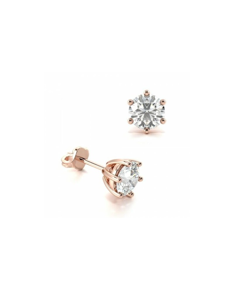 boucles oreilles solitaire or rose paris