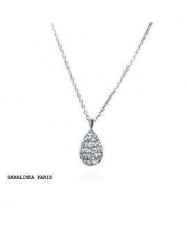 collier pendentif GOUTTE diamants or blanc 18k 750/°°°
