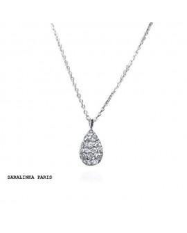 collier pendentif GOUTTE diamants or blanc 18k 750/°°°
