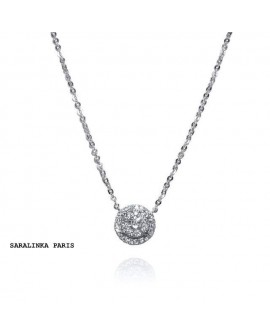 collier pendentif solitaire 0,13 carats  diamants or blanc 18k 750/°°°