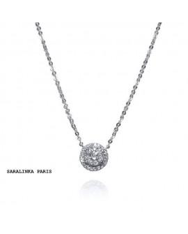 collier pendentif solitaire 0,13 carats  diamants or blanc 18k 750/°°°