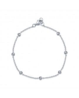 Bracelet RIVIÈRE  OR BLANC 18K - 0,19 carats DIAMANTS GVS FEMME