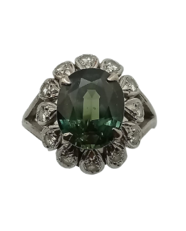 BAGUE TOURMALINE ENTOURAGE DIAMANTS OR BLANC 585/°°° Vintage