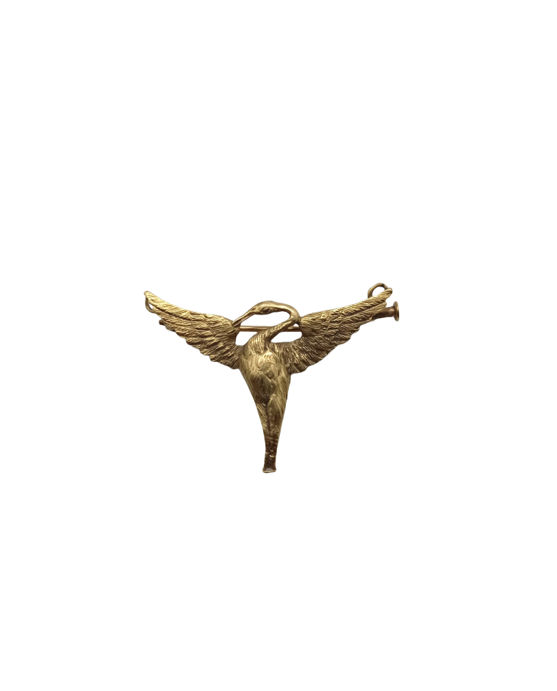 broche or jaune oiseau paris
