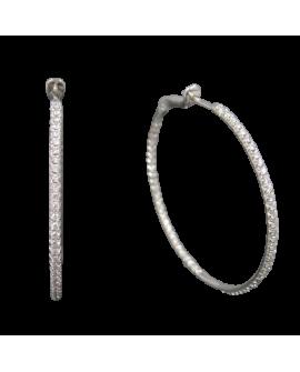Créoles Gosier Or Blanc 750°/°° Diamants Serti De Diamants Intérieur Extérieur