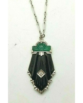 COLLIER ART DECO OR BLANC 585/°°° DIAMANT ONYX MALACHITE