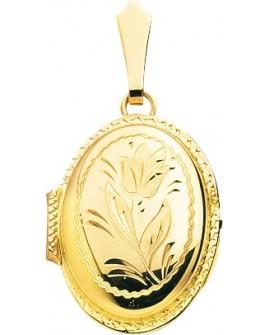 pendentif porte photo ciselé fleur rose  en or jaune 750/°°° neuf